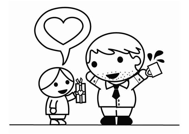 Dibujos Del Dia Del Padre Coloreados: Dibujo Para Colorear Hijo En El Día Del Padre