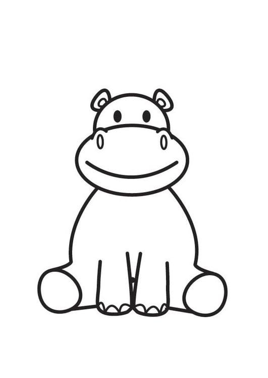Dibujo para colorear hipopótamo - Img 17916