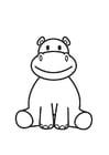 Dibujo para colorear hipopótamo