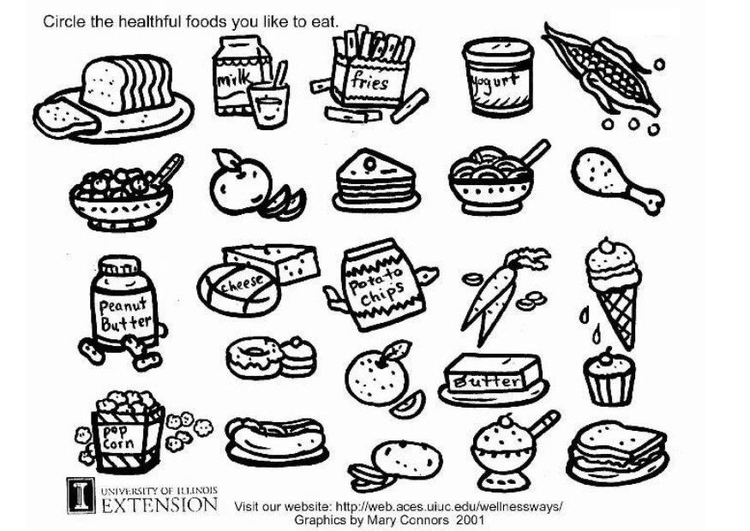Dibujo para colorear Hoja de trabajo de comida sana - Img 5772