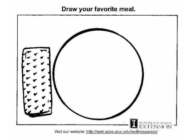 Dibujo para colorear Hoja de trabajo de comida sana - Img 5773