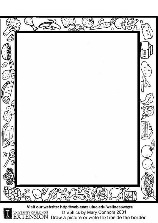 Dibujo para colorear Hoja de trabajo de comida sana - Img 5774