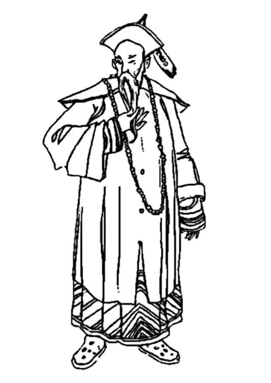 Dibujo para colorear Hombre chino - Img 9324