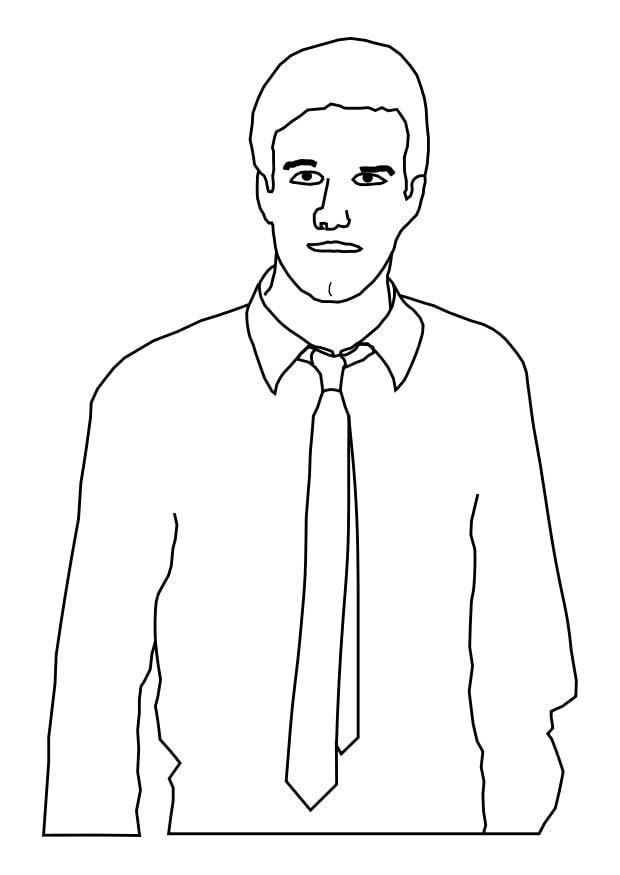 Dibujo para colorear hombre con corbata  Img 25588