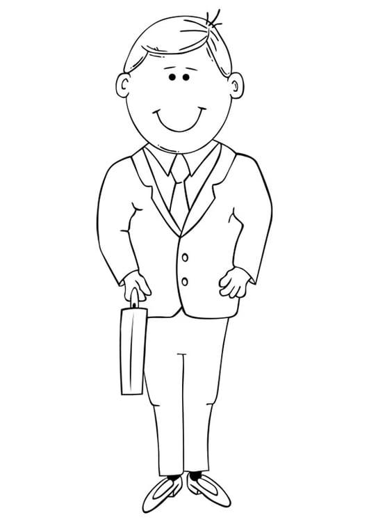Dibujo para colorear hombre de negocios - Img 19320