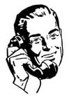 Dibujo para colorear hombre llama por teléfono