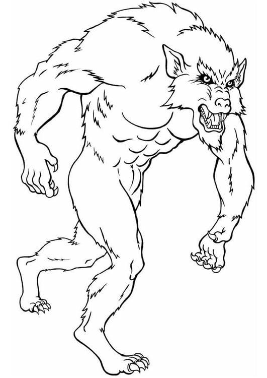 Dibujo para colorear Hombre lobo - Img 8833