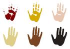Dibujo para colorear huellas de la mano
