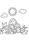 Dibujo para colorear Huevos de pascua bajo el sol