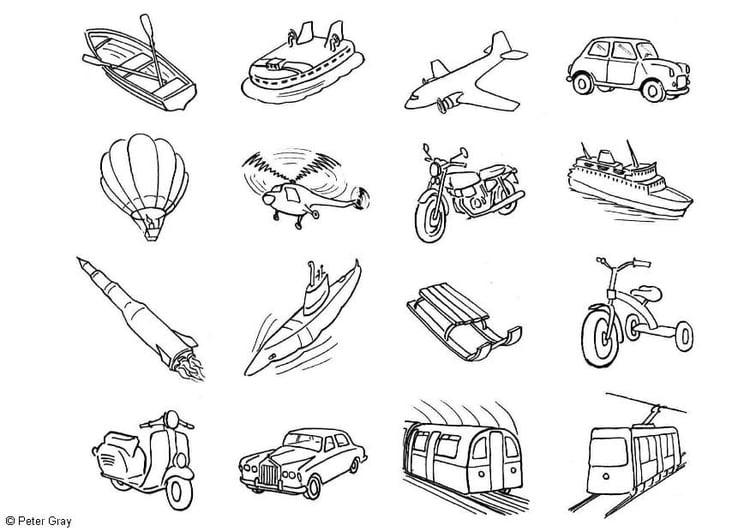 Dibujo para colorear Iconos de transporte - Img 6932