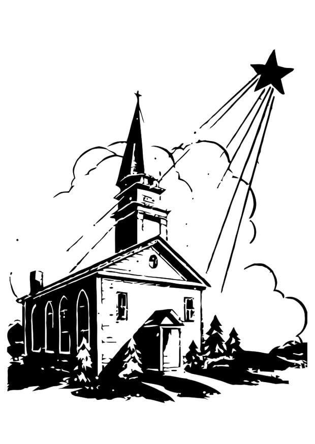 Kleurplaat Ster Kerst Dibujo Para Colorear Iglesia Con Estrella De Navidad Img