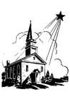 Dibujo para colorear iglesia con estrella de navidad