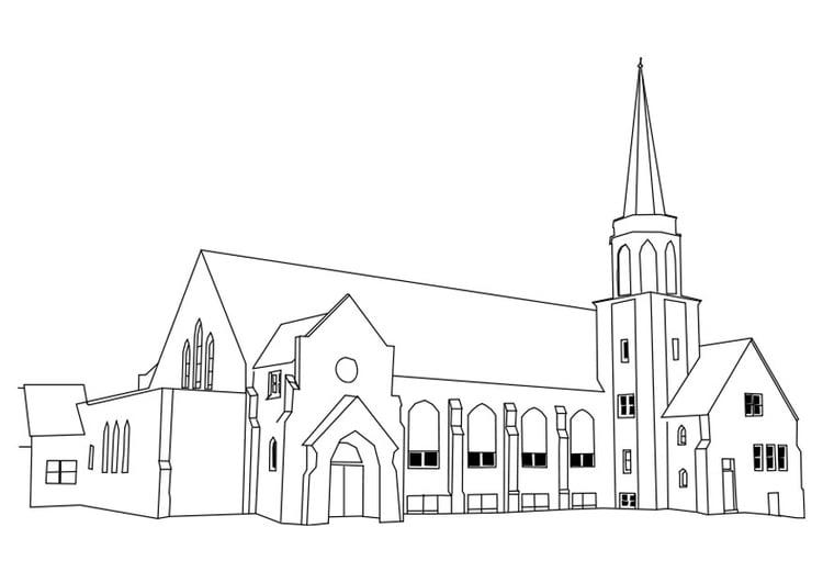 Dibujo para colorear iglesia - Img 27180