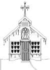 Dibujo para colorear iglesia en invierno