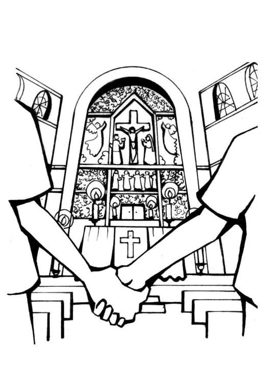 Dibujo para colorear Iglesia - matrimonio - Img 7098