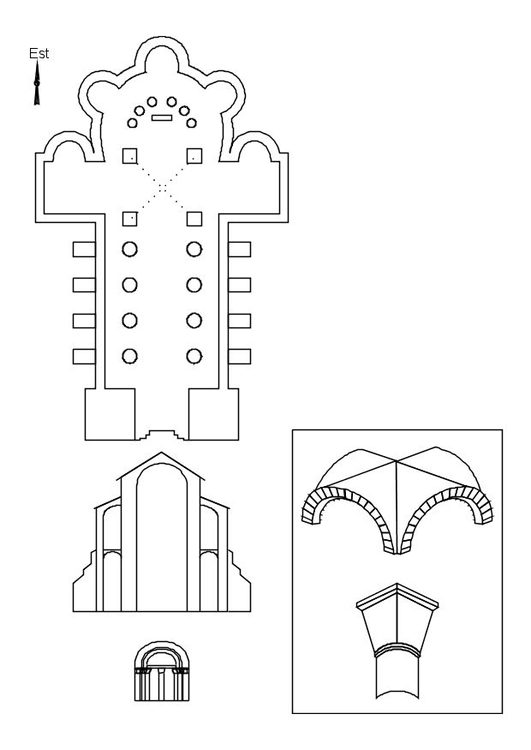 Dibujo para colorear Iglesia románica - Img 10693