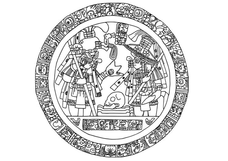 Dibujo Para Colorear Imagen Maya En Círculo Img 28122