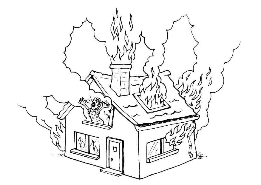 Dibujo Para Colorear Incendio En Casa