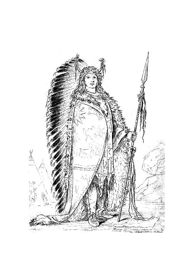 dibujo para colorear indio sioux