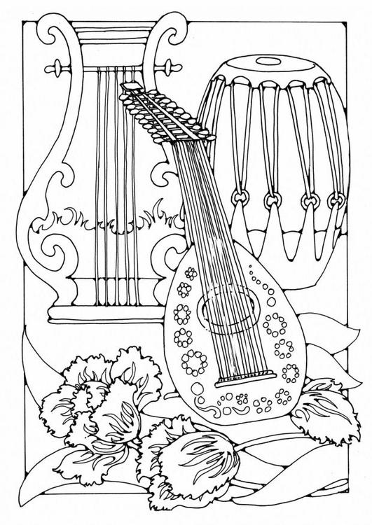 Dibujo para colorear instrumentos musicales - Img 19588