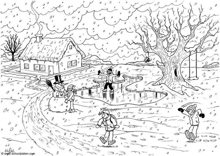 Dibujo para colorear Invierno - Img 4559