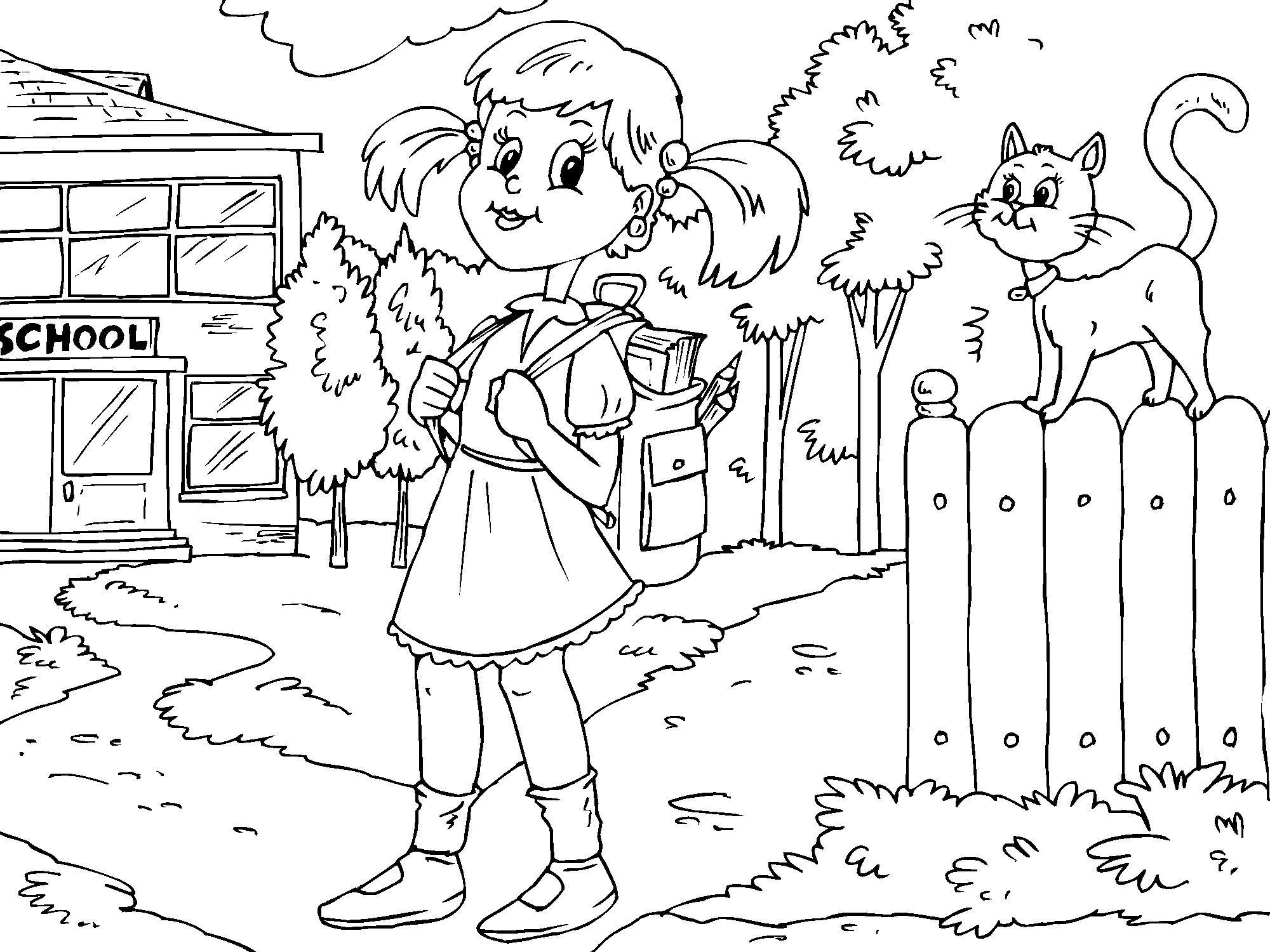 Dibujo para colorear ir al colegio - Img 22686
