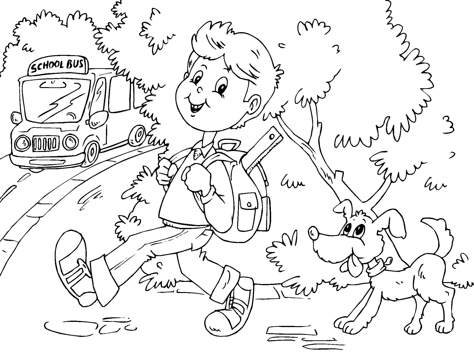 Dibujo De Lecturas De Colegio Para Colorear: Dibujo Para Colorear Ir Al Colegio En Autobús