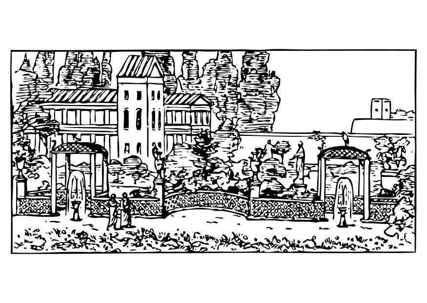 Dibujo para colorear jard n romano img 10482 for Jardin dibujo