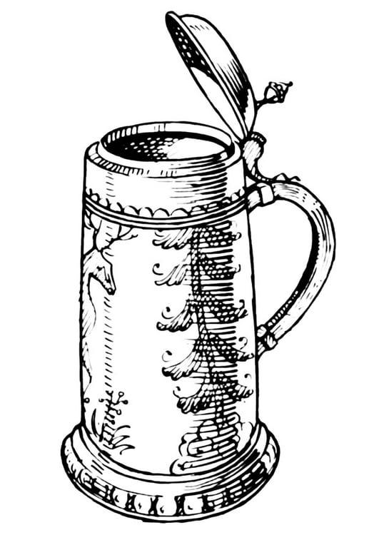 dibujo para colorear jarra de cerveza img 18940