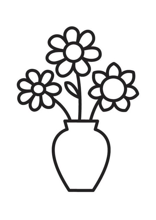 Dibujo para colorear jarrón con flores   Img 18334