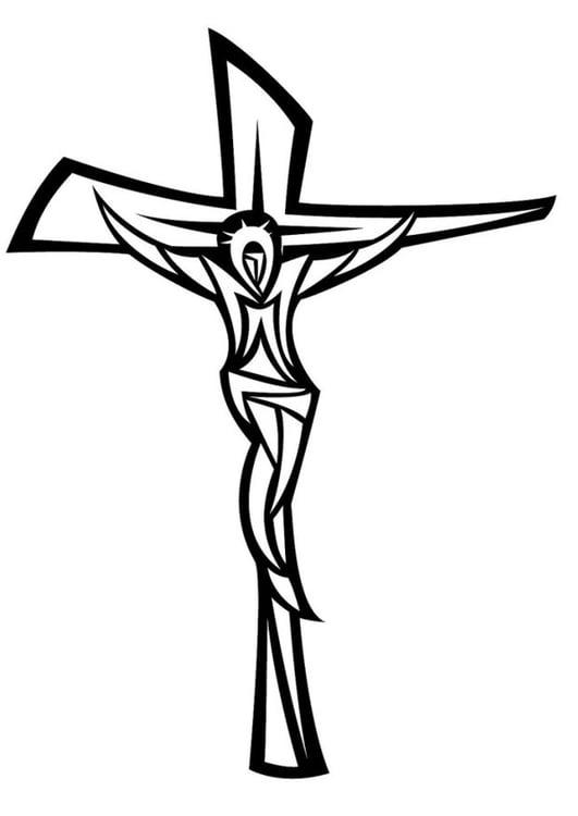 Dibujo para colorear Jesús en la cruz - Img 24668