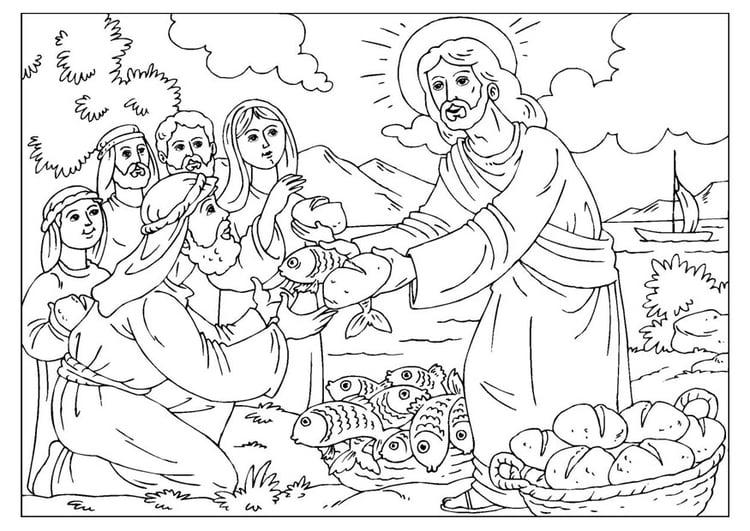 Dibujo Para Colorear Jesãºs Reparte El Pan Y Los Peces Img 25924