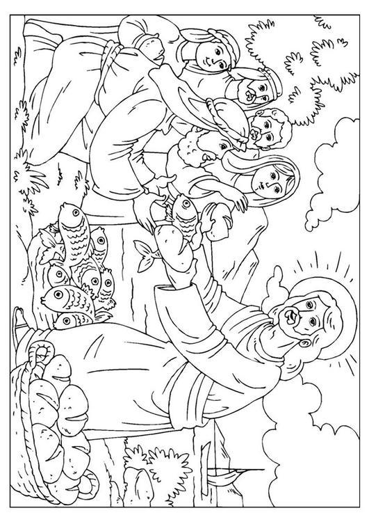 Dibujo para colorear Jesús reparte el pan y los peces - Img 25924