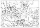 Dibujo para colorear Jesús reparte el pan y los peces