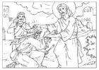 Dibujo para colorear Jesús sana
