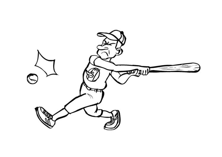 Dibujo para colorear Jugador de béisbol - Img 12034
