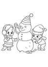 Dibujo para colorear jugando con muñeco de nieve