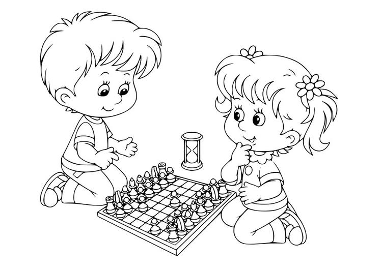 Dibujo para colorear jugar al ajedrez - Img 30102