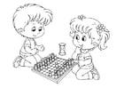 Dibujo para colorear jugar al ajedrez