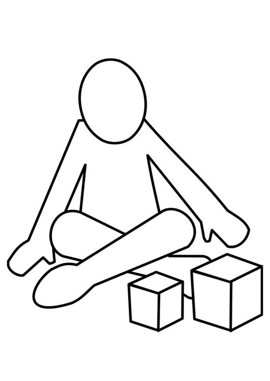 Dibujo para colorear jugar con bloques - Img 22479