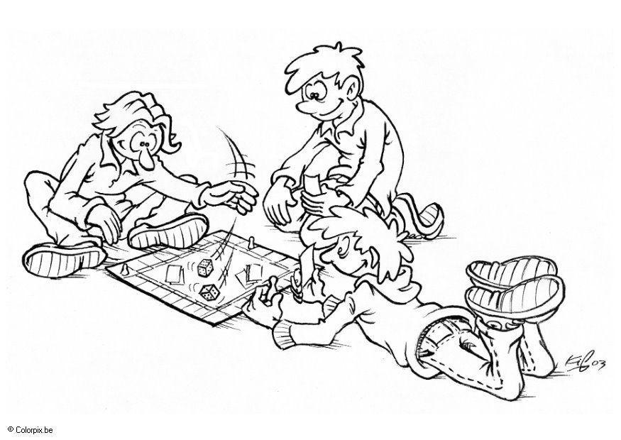 Dibujo Para Colorear Jugar En Grupo