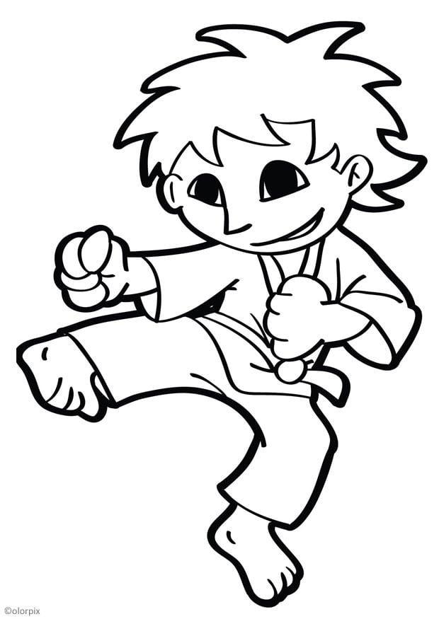Excelente Karate Para Colorear Friso - Dibujos Para Colorear En ...