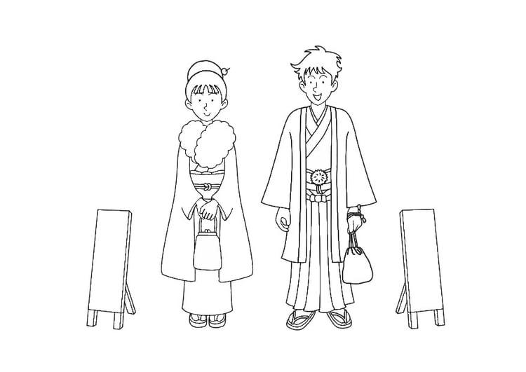 Dibujo para colorear kimono - Img 30312