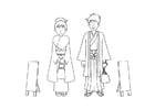 Dibujo para colorear kimono