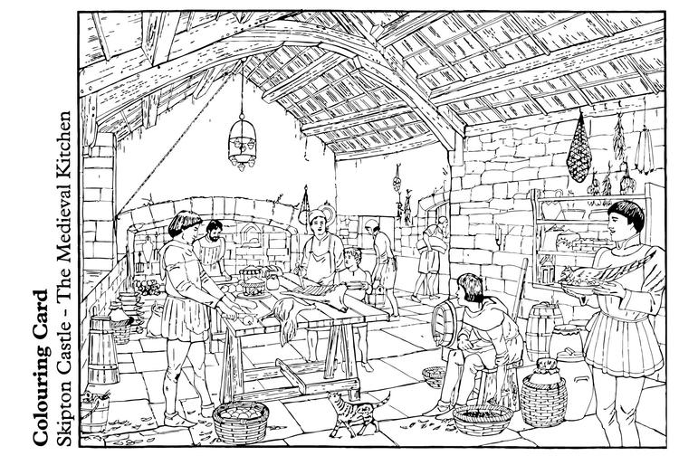 Dibujo para colorear La cocina medieval - Img 14893