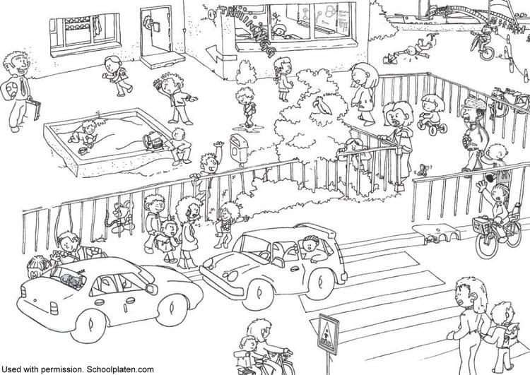 Dibujo para colorear La escuela - Img 5368
