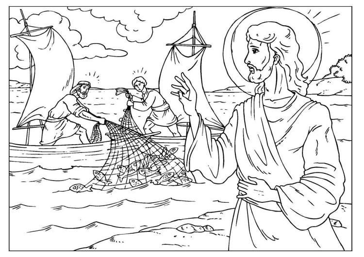 Dibujo para colorear la pesca milagrosa - Img 25929