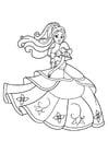 Dibujo para colorear la princesa esta bailando