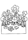 Dibujo para colorear La profesora explica