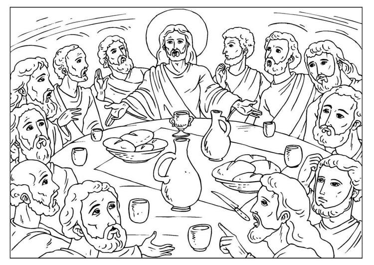 Dibujo para colorear la última cena - Img 25923